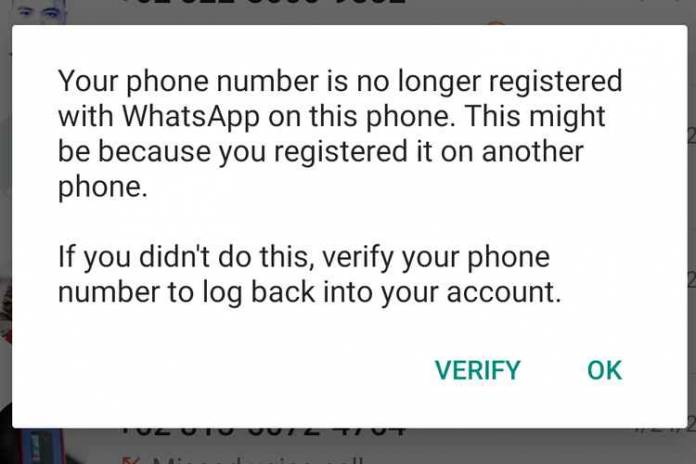 Danger, Click OK On This Notification Can Create a WhatsApp Account Change Hands